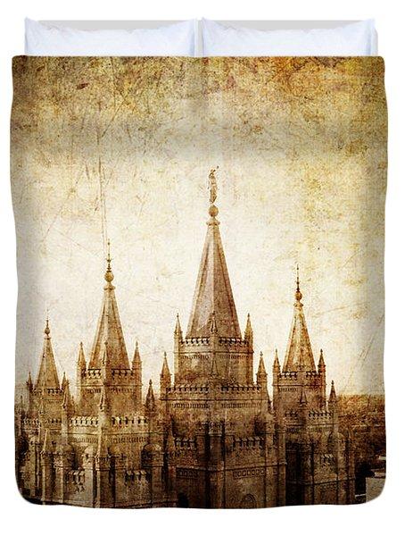 Vintage Slc Temple Duvet Cover by La Rae  Roberts