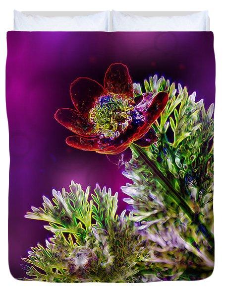 Violet Labialize Flora Duvet Cover by Bill Tiepelman