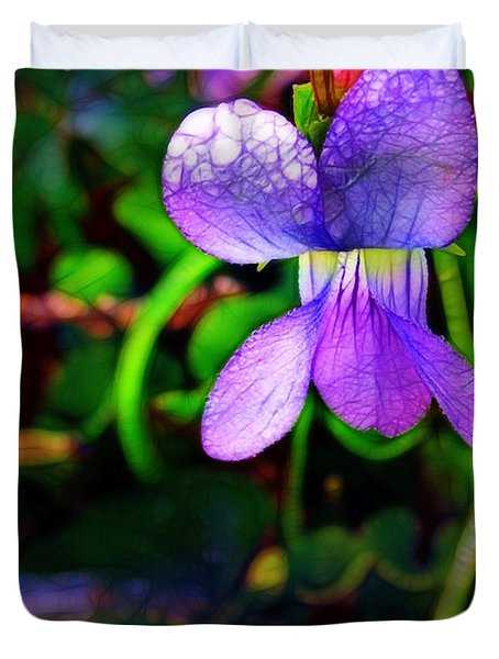 Violet With Dew Duvet Cover by Judi Bagwell
