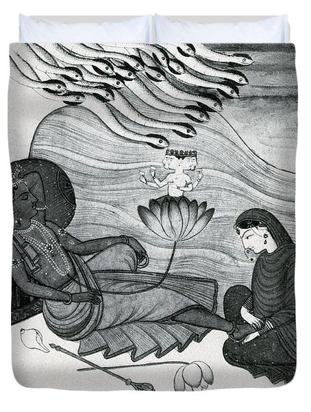Vishnu And Lakshmi Duvet Cover by Photo Researchers