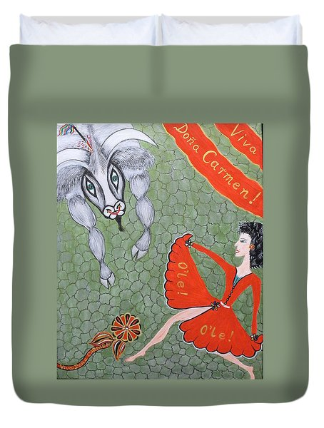 Duvet Cover featuring the painting Viva Dona Carmen by Marie Schwarzer