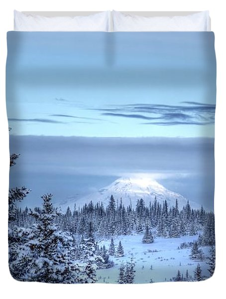 Duvet Cover featuring the photograph Volcano In The Clouds by Michele Cornelius