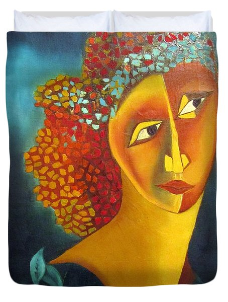 Waiting For Partner Orange Woman Blue Cubist Face Torso Tinted Hair Bold Eyes Neck Flower On Dress Duvet Cover