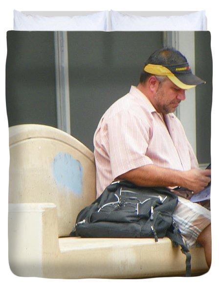 Waiting For The Bus Duvet Cover by Lenore Senior