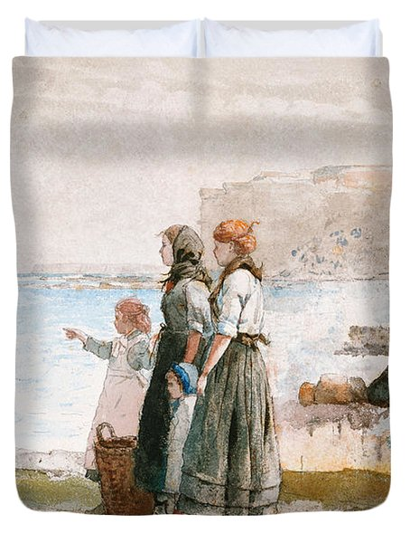 Waiting For The Return Of The Fishing Fleets Duvet Cover by Winslow Homer