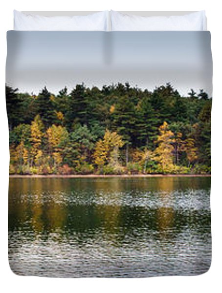 Walden Pond Panorama I Duvet Cover by Thomas Marchessault