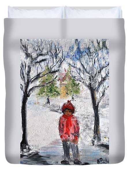 Walking Alone Duvet Cover by Evelina Popilian