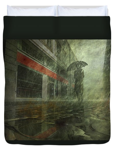 Walking In The Rain Duvet Cover by Carol and Mike Werner