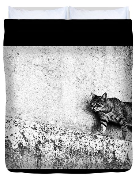 Duvet Cover featuring the photograph Walking On The Wall by Laura Melis