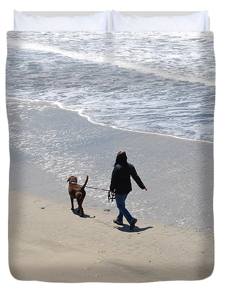 Walking The Dog Duvet Cover by Carolyn Donnell