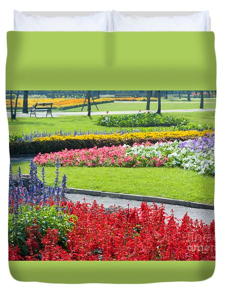 Walkway In Park Duvet Cover by Atiketta Sangasaeng