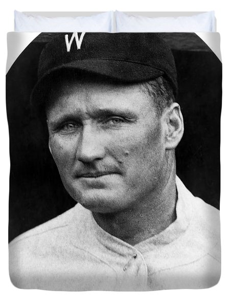 Duvet Cover featuring the photograph Walter Johnson - Washington Senators Baseball Player by International  Images