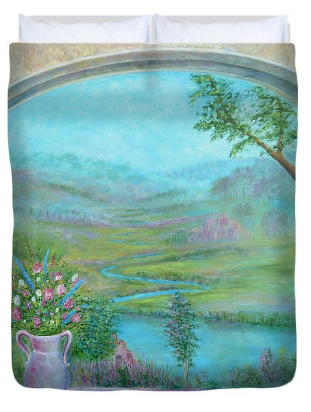 Duvet Cover featuring the painting Walton's Valley by Lynn Buettner