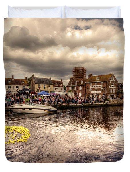 Wareham Duck Race Duvet Cover by Rob Hawkins