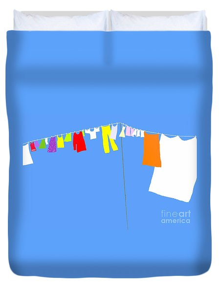 Duvet Cover featuring the digital art Washing Line Simplified Edition by Barbara Moignard