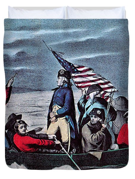 Washington Crossing The Delaware, 1776 Duvet Cover by Photo Researchers