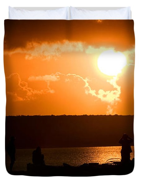 Watching Sunset Duvet Cover by Yew Kwang