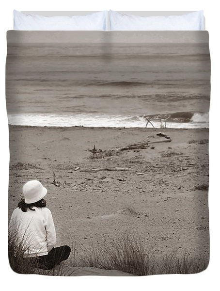 Watching The Ocean In Black And White Duvet Cover