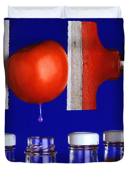 Water Extraction From Tomato Duvet Cover by Photo Researchers