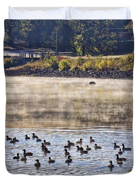 Water Fowl At Lake Wilhelmina Arkansas Duvet Cover by Douglas Barnard