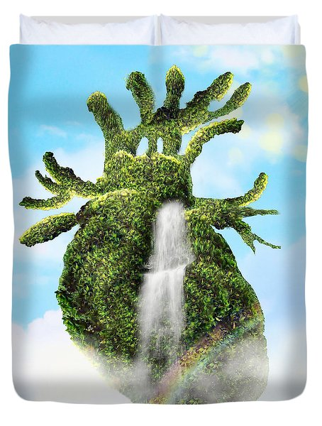 Water From The Heart Duvet Cover by Mo T