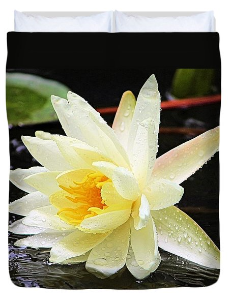 Water Lily In White Duvet Cover
