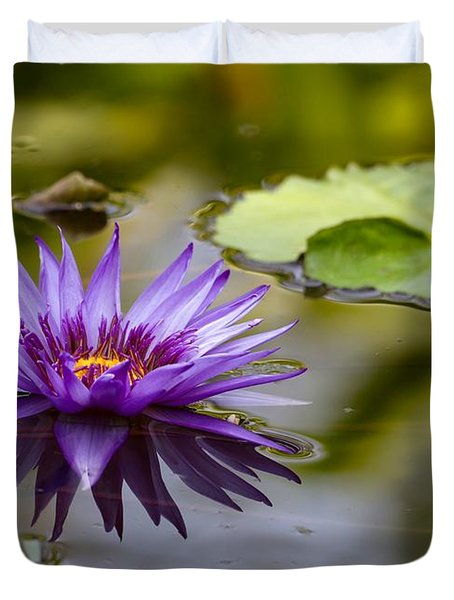 Water Lily Kissing The Water Duvet Cover by Sabrina L Ryan