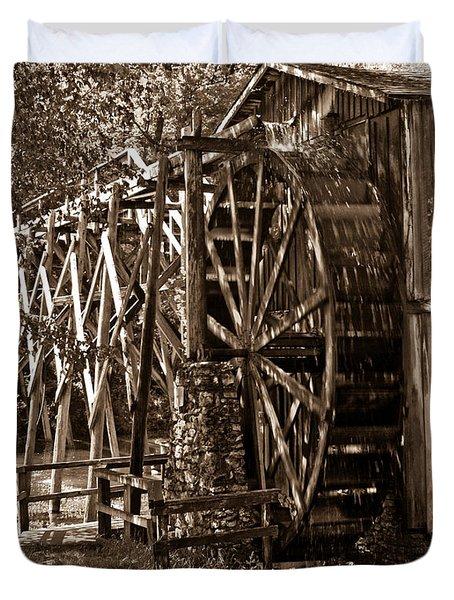 Water Mill In Action Duvet Cover by Douglas Barnett