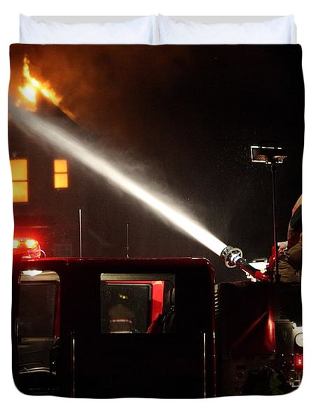Duvet Cover featuring the photograph Water On The Fire From Pumper Truck by Daniel Reed