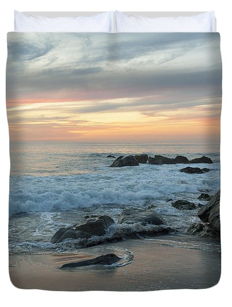 Water Washing Up On The Beach Duvet Cover by Keith Levit