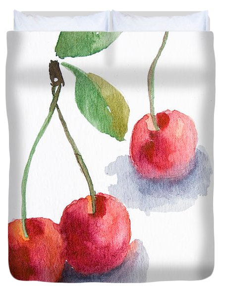 Watercolor Cherry  Duvet Cover
