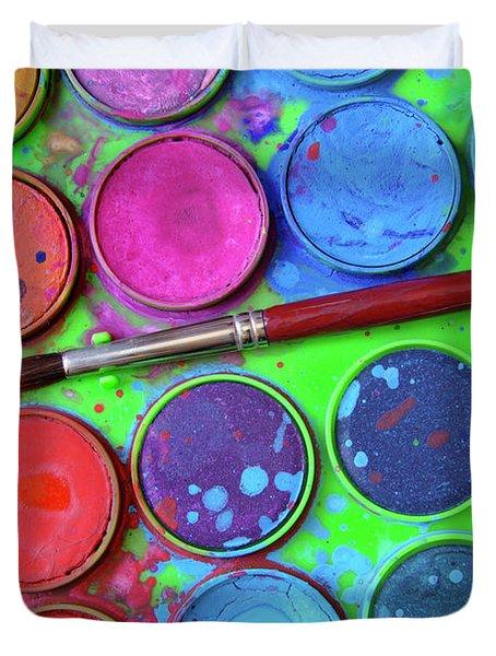 Watercolor Palette Duvet Cover