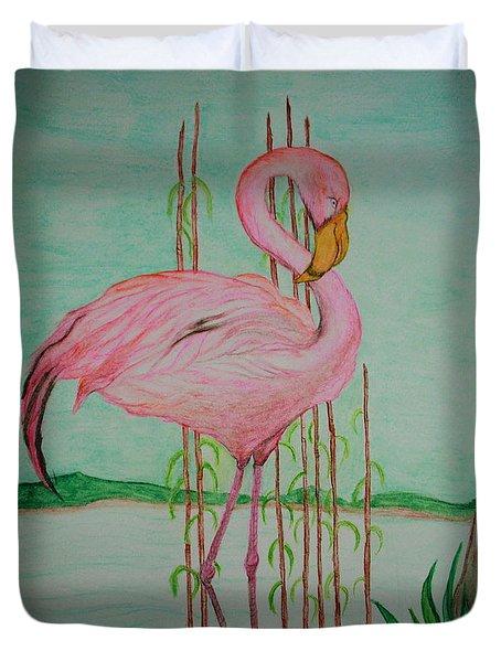 Watercolor Pencil Flamingo Duvet Cover