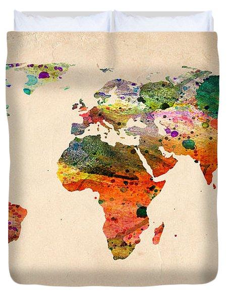 Watercolor World Map  Duvet Cover by Mark Ashkenazi