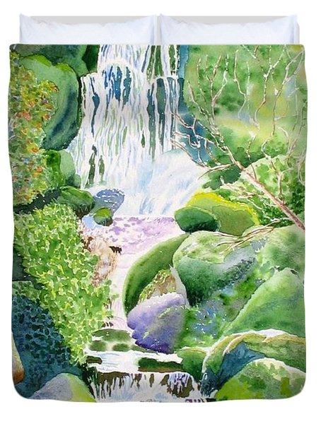 Waterfall In Japanese Garden Painting By Joanne Rauschkolb