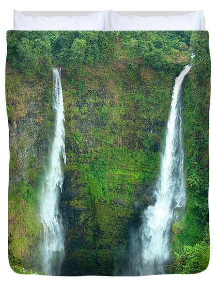 Duvet Cover featuring the photograph waterfall in Laos by Luciano Mortula