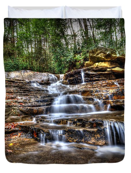 Waterfall On Small Creek Going Into The Big Sandy River Duvet Cover by Dan Friend