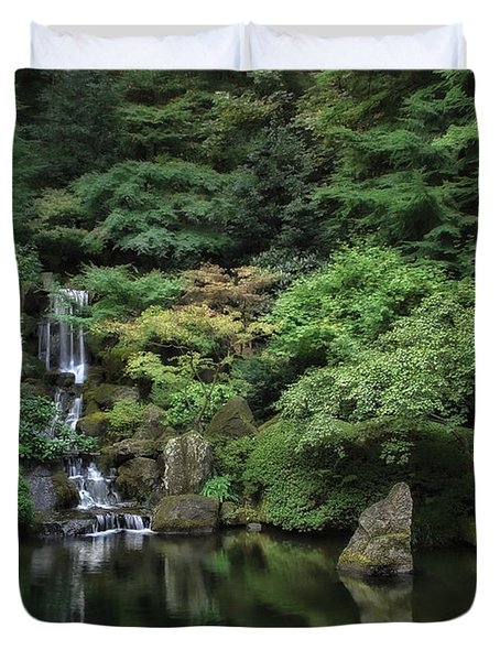 Waterfall - Portland Japanese Garden - Oregon Duvet Cover by Daniel Hagerman