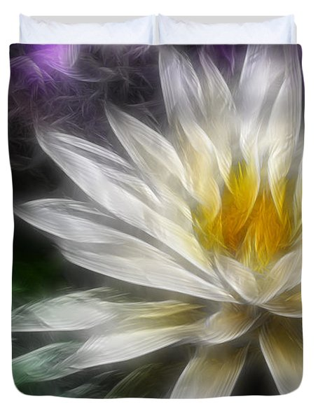 Waterlily In Pseudo-fractal Duvet Cover by Lynne Jenkins