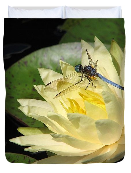 Waterlily With Dragonfly Duvet Cover by Eva Kaufman
