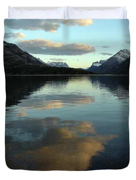 Waterton Lake Sunset Canada Duvet Cover by Vivian Christopher