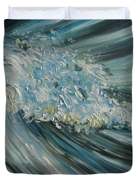Duvet Cover featuring the painting Wave Whirl by Julie Brugh Riffey