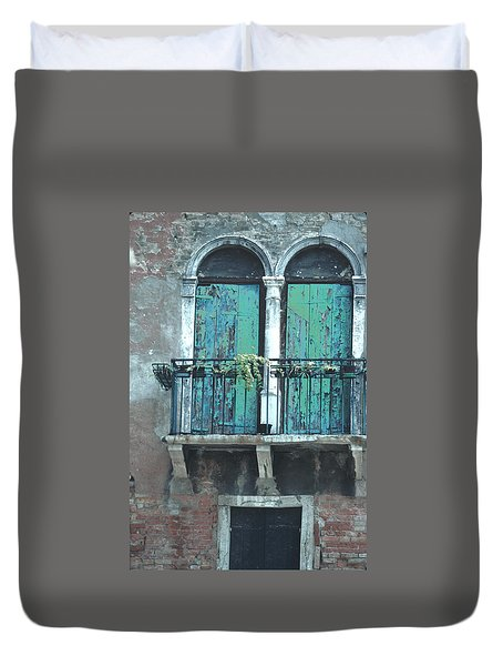 Duvet Cover featuring the photograph Weathered Venice Porch by Tom Wurl