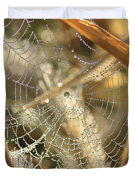 Web Of Jewels Duvet Cover by Penny Meyers