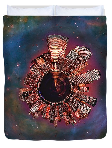 Wee Manhattan Planet Duvet Cover by Nikki Marie Smith