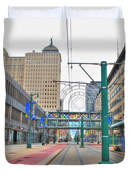 Duvet Cover featuring the photograph Welcome To Dt Buffalo by Michael Frank Jr