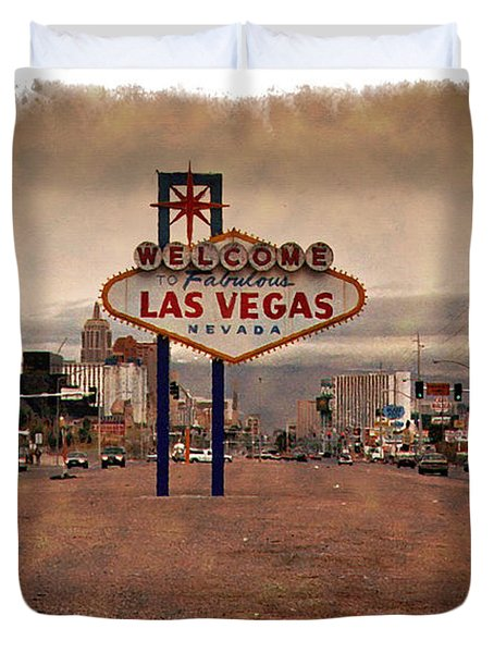 Welcome To Las Vegas Sign 1997 - Impressions Duvet Cover