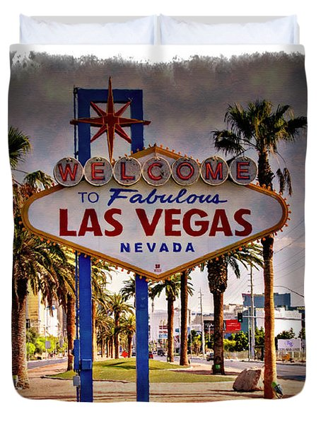 Welcome To Las Vegas Sign Series Impressions Duvet Cover by Ricky Barnard