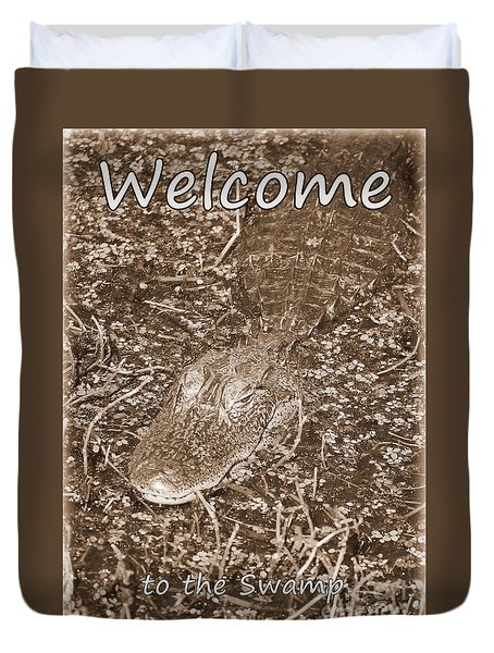 Welcome To The Swamp - Sepia Duvet Cover by Carol Groenen