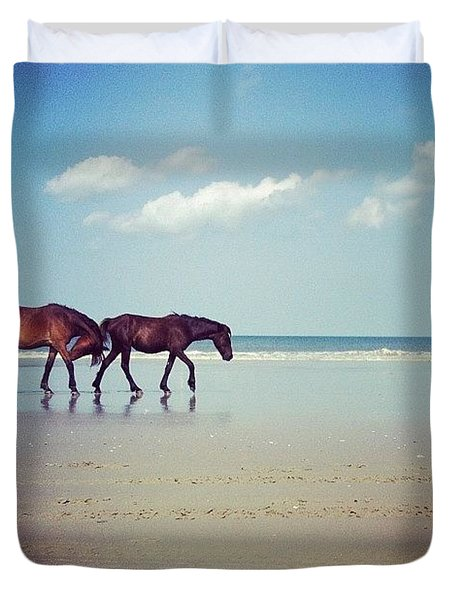 Well, This Just Happened. #wild #horses Duvet Cover